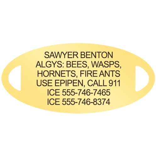 Gold tone medical alert tag with custom allergy laser engraving