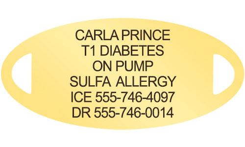 Diabetes medical alert tag in gold tone