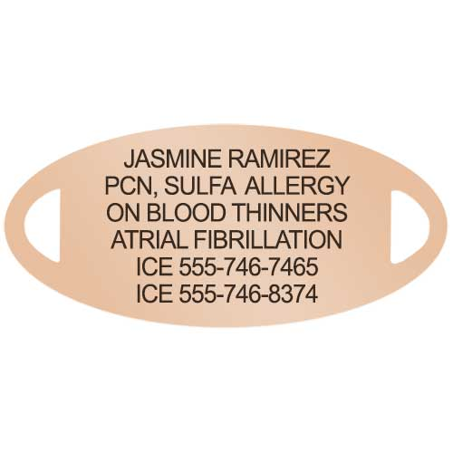 Rose gold tone medical alert tag with custom diabetes laser engraving